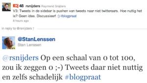 tweets in je sidebar