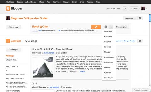 blogger dashboard overzicht na in loggen
