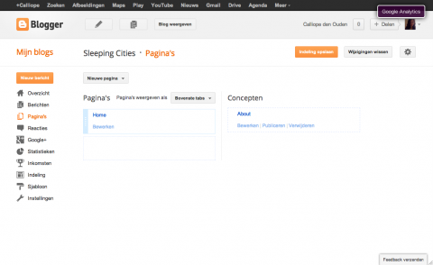 screenshot van een blogger dashboard overzicht paginas
