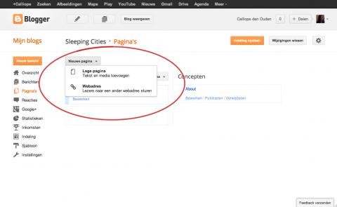 screenshot van een blogger dashboard pagina soort kiezen