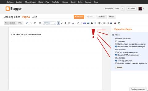 screenshot van een blogger dashboard met opties die je kunt kiezen voor je pagina