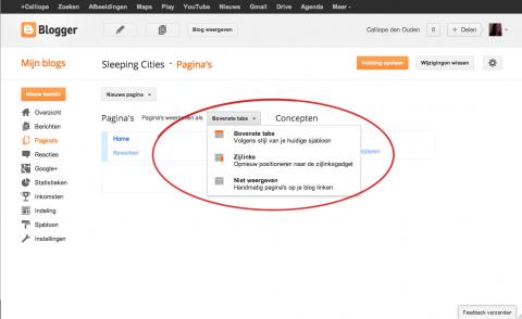 screenshot van een blogger dashboard toont de locatie van plaatsing menu in thema