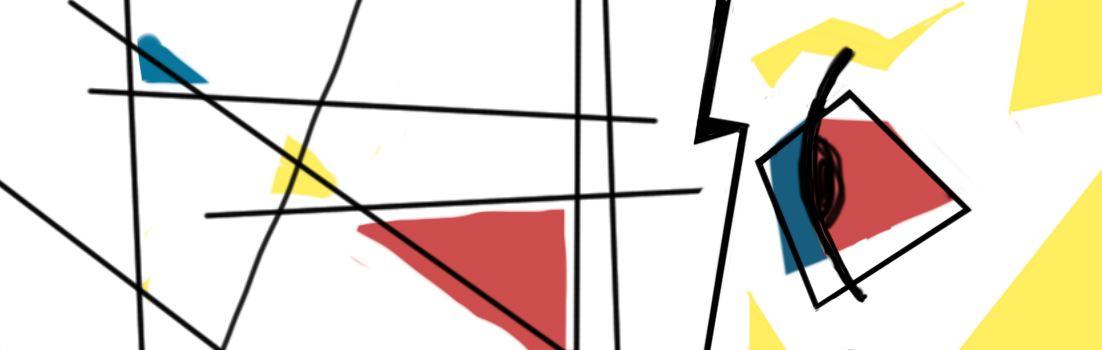 illustratie bij magazine vraag abstract stijl mondriaan