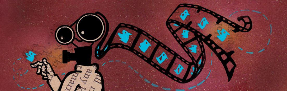 illustratie van antropomorfe camera die een blauw vogeltje bekijkt uit zijn hoofd stroomt een dia set